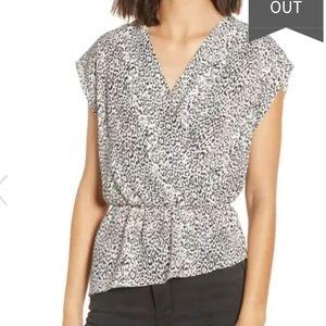 Leith Wrap Style Blouse  Leopard Print S NWT